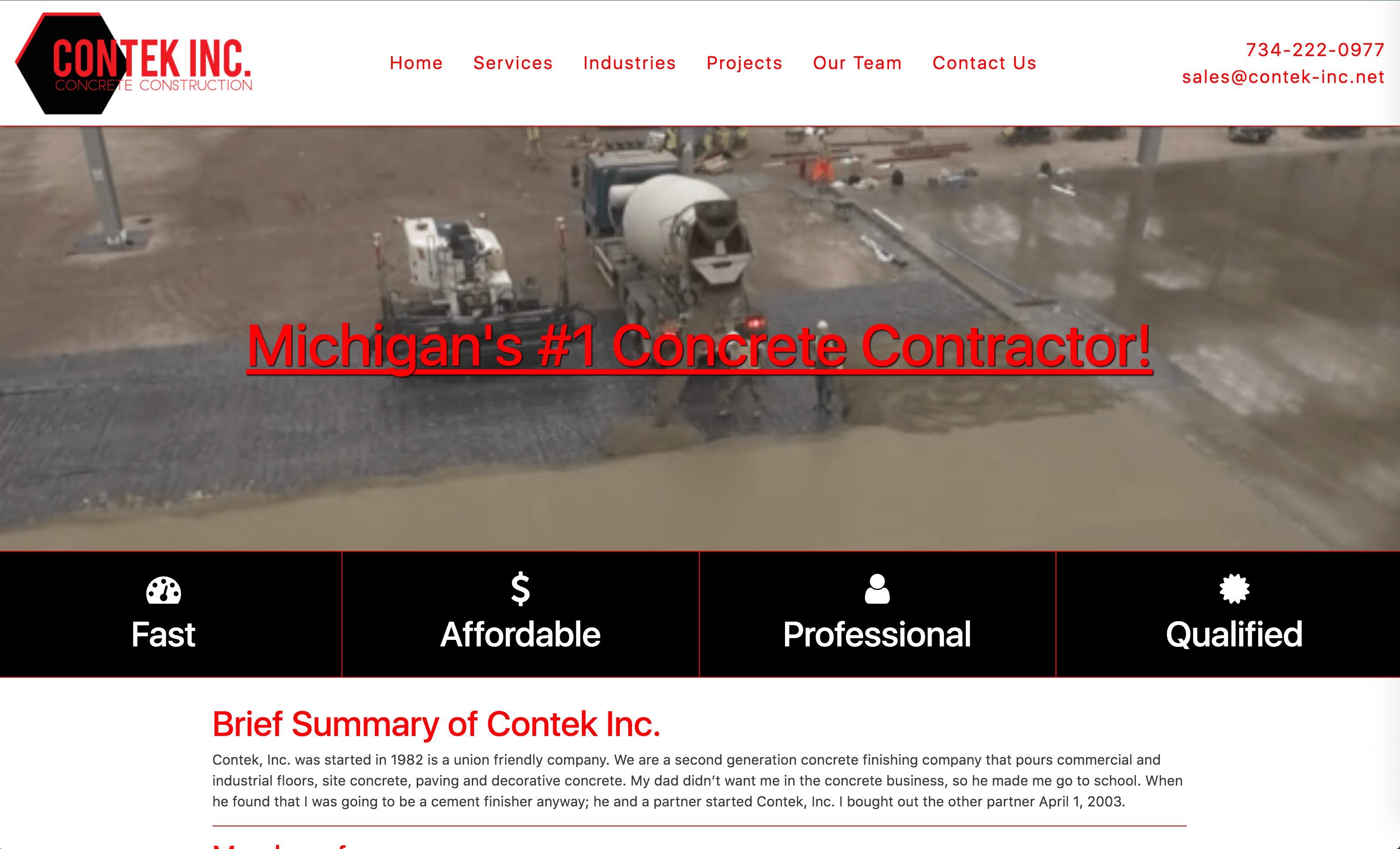 Contek is a concrete contractor company.