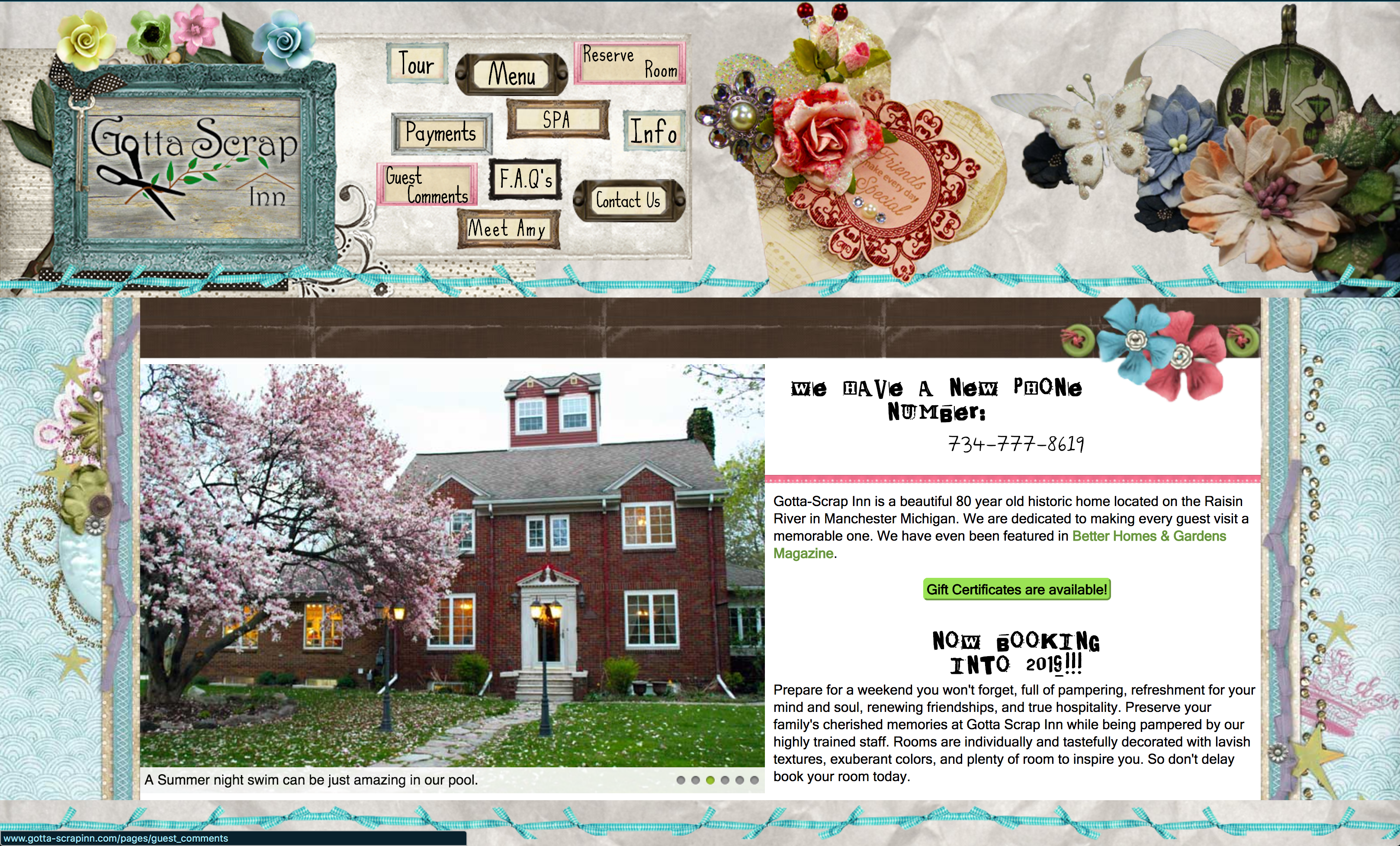 Gotta Scrap Inn is custom website with several custom User Interface(UI) features.