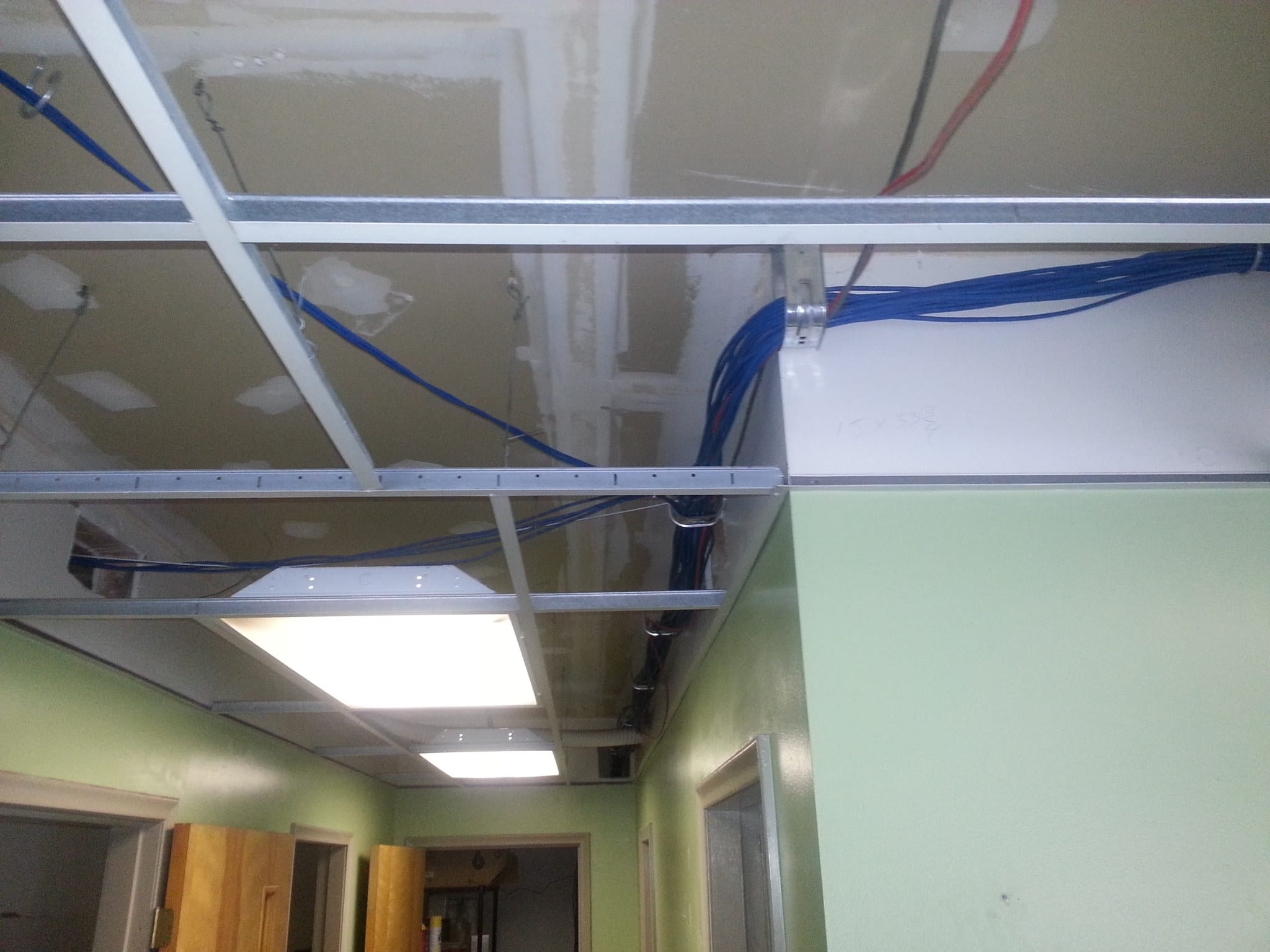 Cat 6 cabling running through office that was a long run.