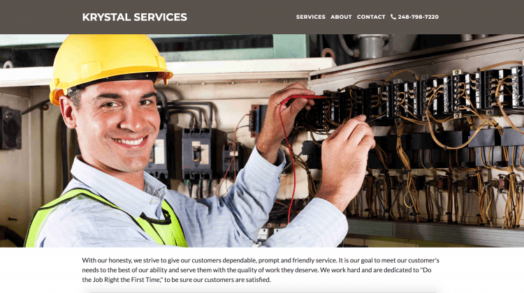 Krystal Services - One Page Site